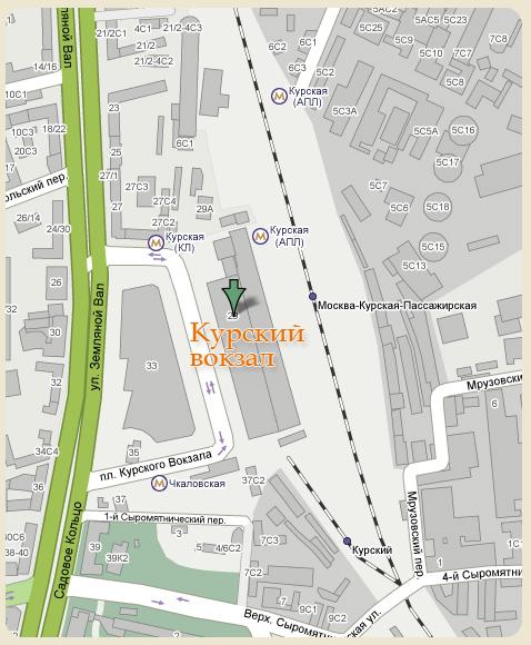 Карта проезда до Курского вокзала
